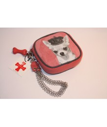 Pink Chihuahua Chain Wristlet